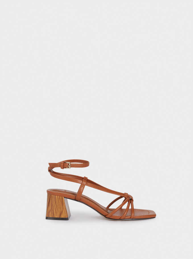 Mid-Heel Sandals With Straps, Camel, hi-res