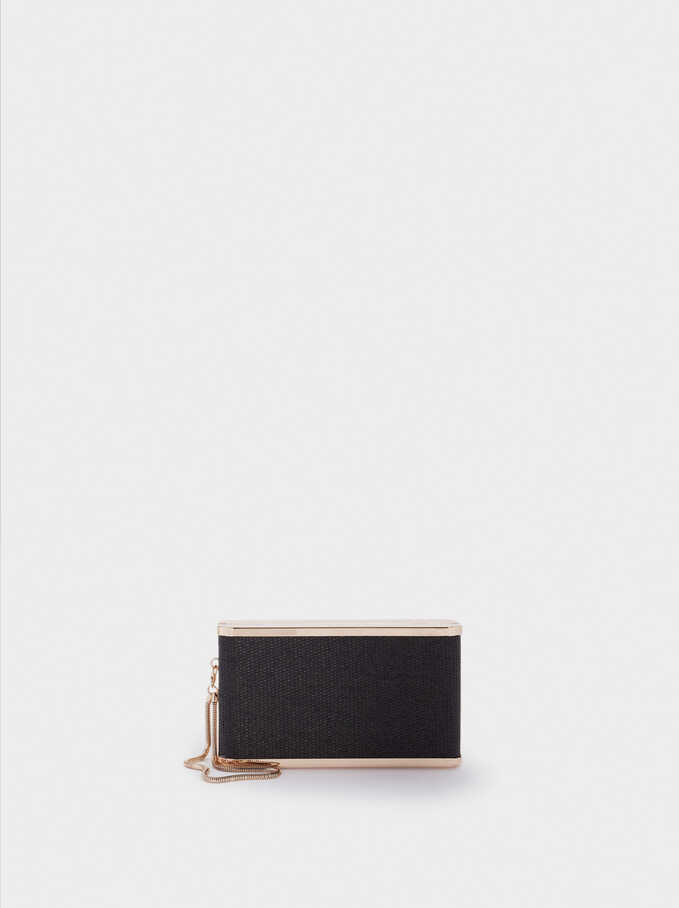 Straw Finish Clutch, Black, hi-res