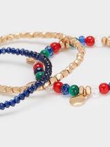 Gold Elastic Bracelet With Faux Pearl Detail, Multicolor, hi-res