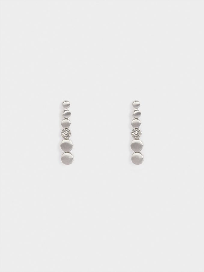 Long Earrings With Zirconia, Silver, hi-res