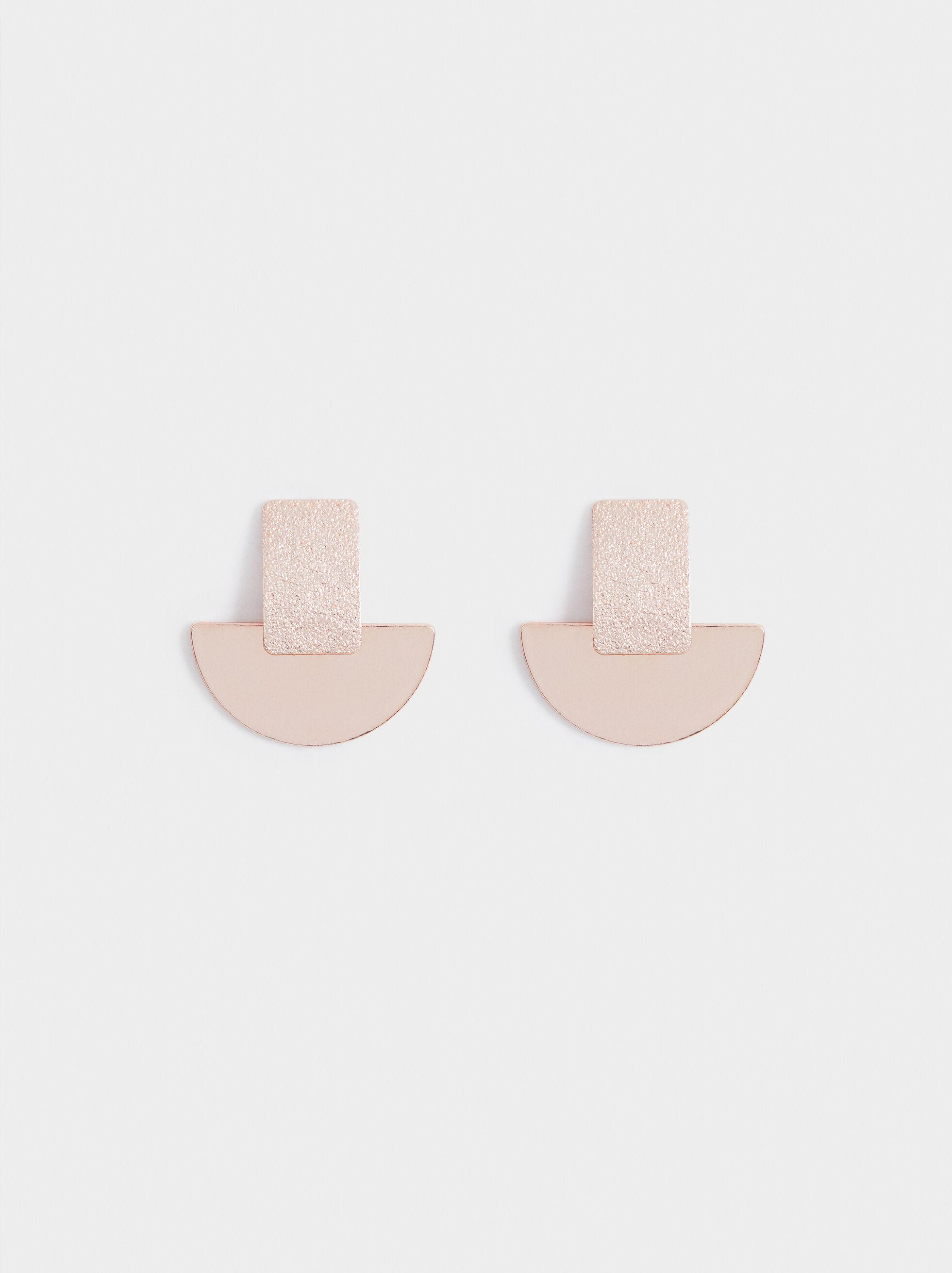 Pink Desert Short Earrings With Geometric Design, Orange, hi-res