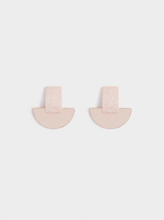 Pink Desert Short Earrings With Geometric Design, Orange, hi-res