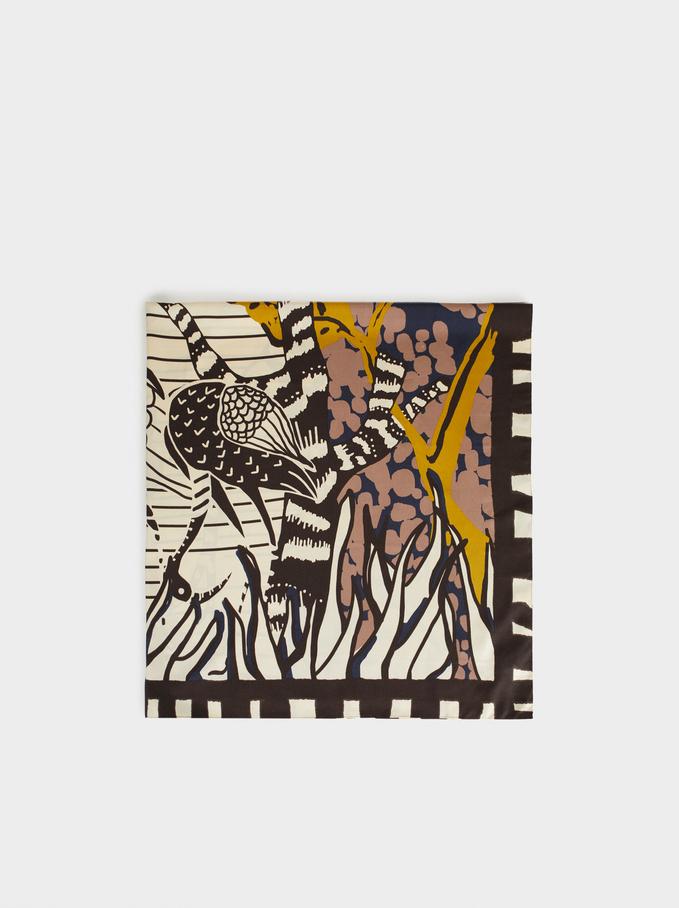 Printed Square Scarf, Multicolor, hi-res