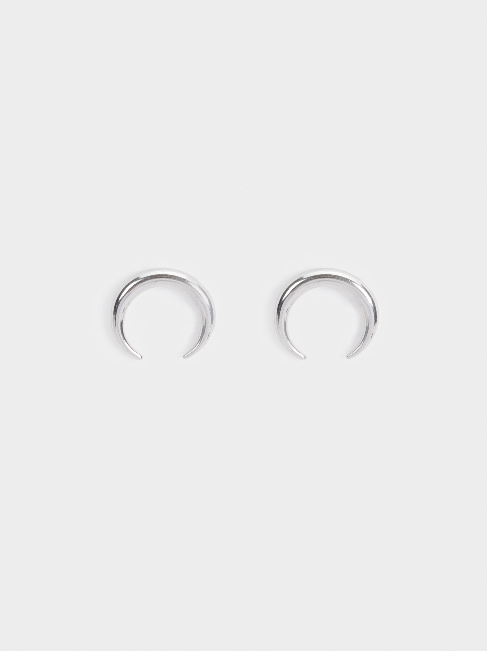 Steel Studs With Moon Design, Silver, hi-res