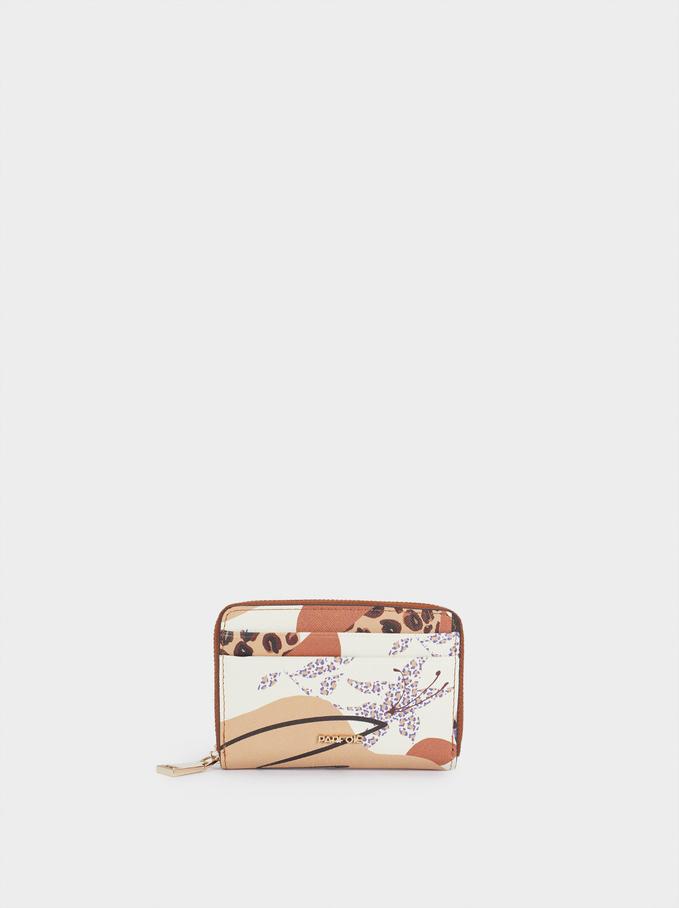 Printed Compact Wallet, Ecru, hi-res