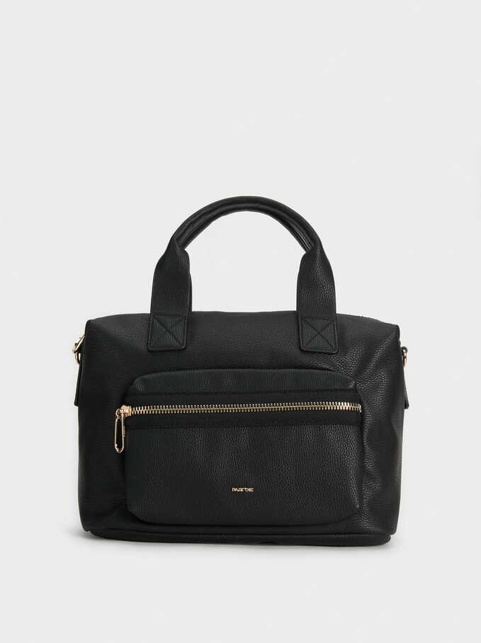 Tote Bag With Outer Pocket, Black, hi-res