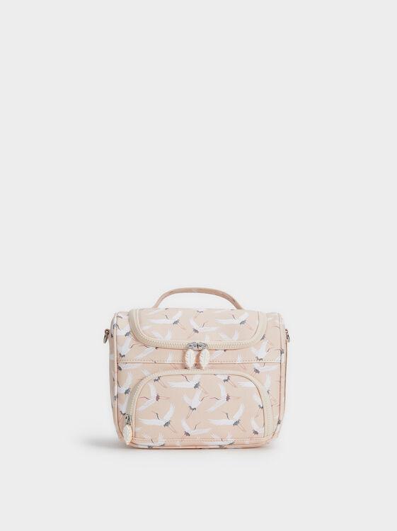 Stork Print Lunch Bag, Pink, hi-res