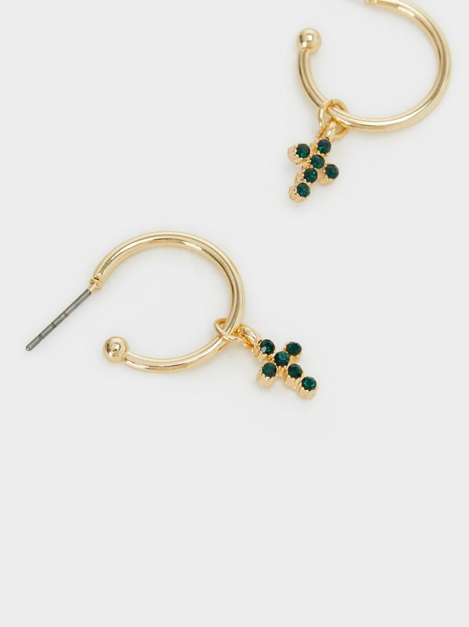 Short Cross Hoop Earrings, Golden, hi-res