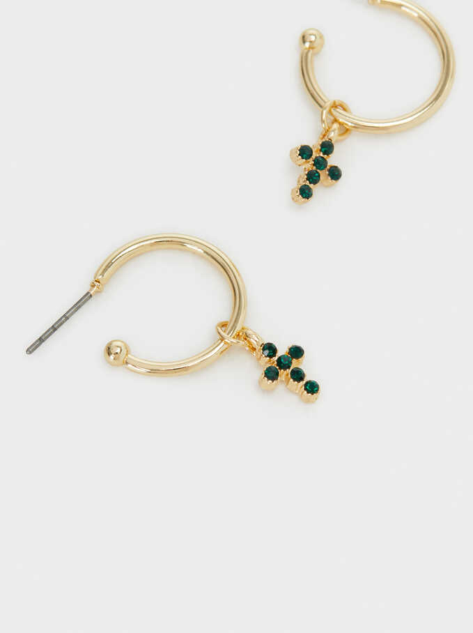 Short Cross Hoop Earrings, Golden, hi-res