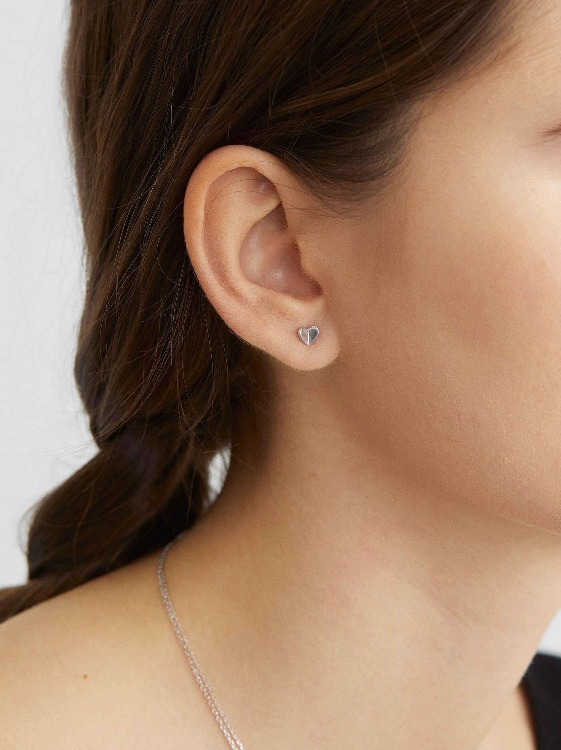 925 Silver Heart Stud Earrings, Silver, hi-res
