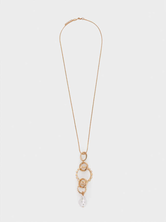 Long Gold-Toned Necklace With Pearl, Golden, hi-res