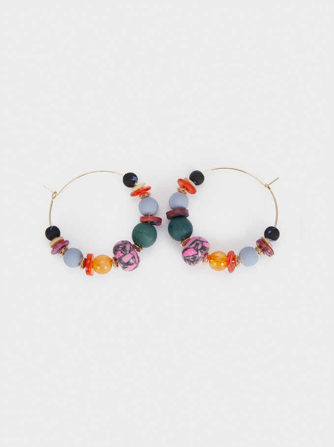 Hoop Earrings With Shells And Stones, Multicolor, hi-res
