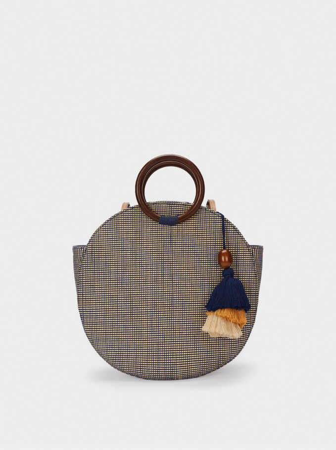 Textured Raffia Shopper Bag With Pendants, Navy, hi-res