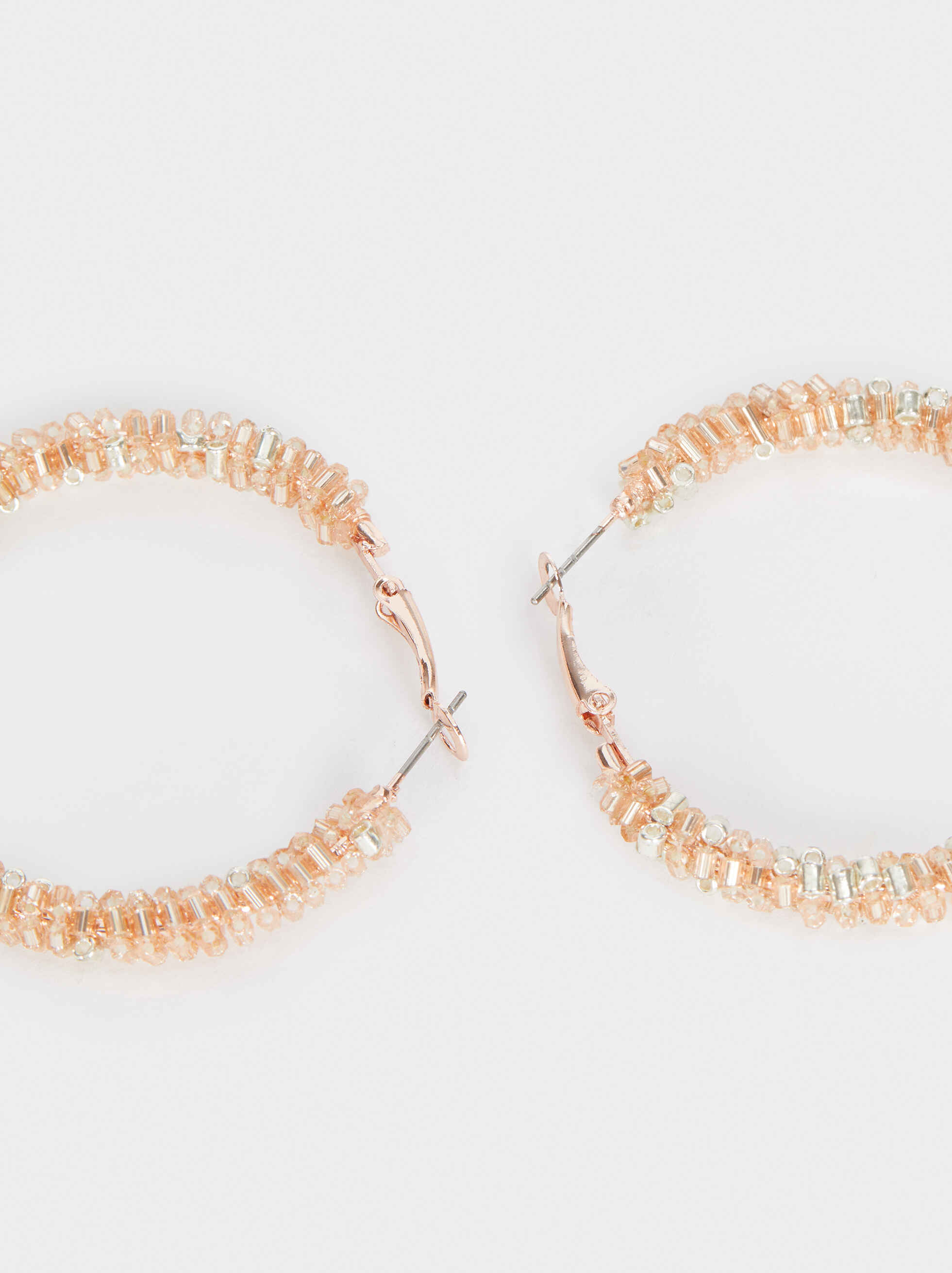 Medium Hoop Earrings With Shiny Beading, Orange, hi-res