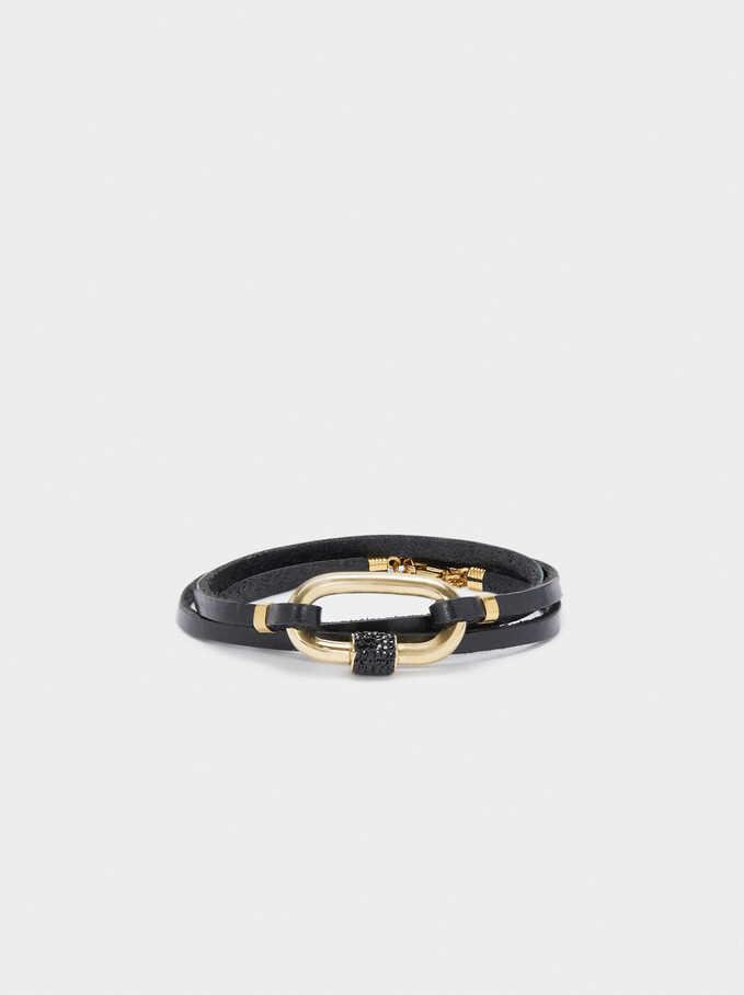 Bracelet En Cuir Détails En Acier, Multicolore, hi-res