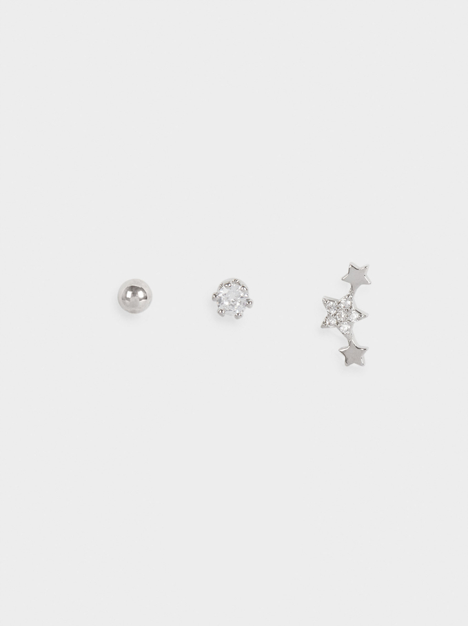 Set Of Earrings With Stars And Zirconia, Silver, hi-res