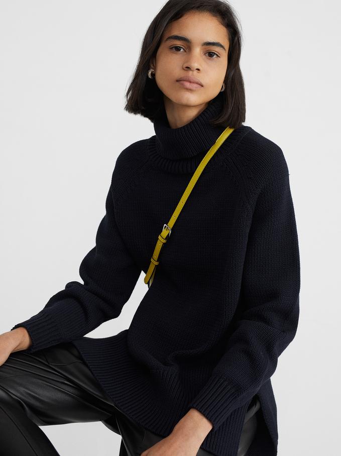 Dzianinowy Sweter Z Golfem, Czarny, hi-res