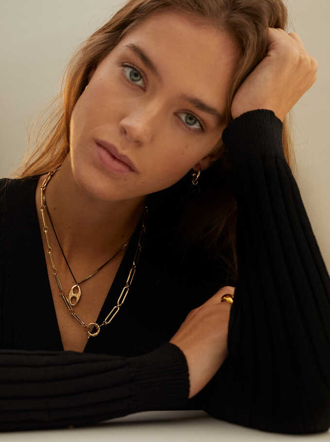 Set Of Contrasting Necklaces, Golden, hi-res