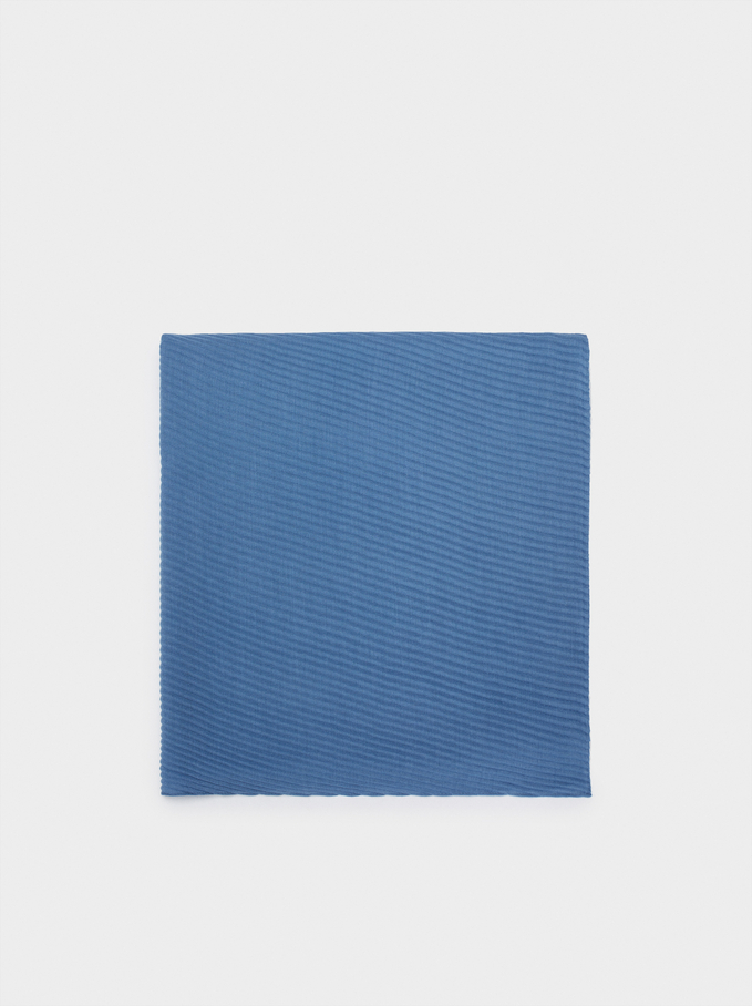 Pleated Pashmina, Blue, hi-res