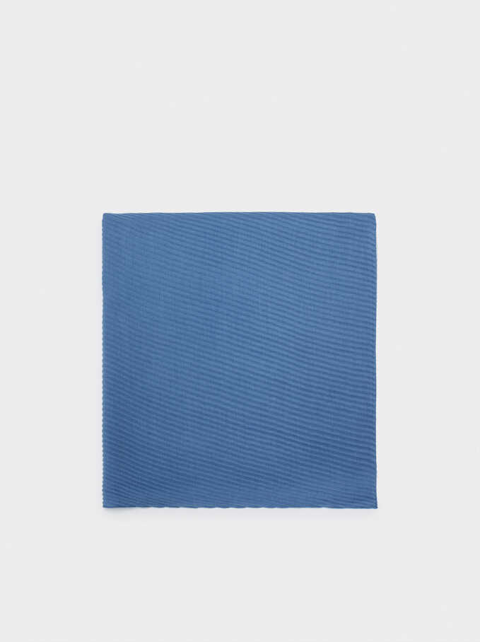 Pleated Pashmina, Blue, hi-res