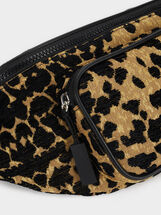 Animal Print Belt Bag, Black, hi-res