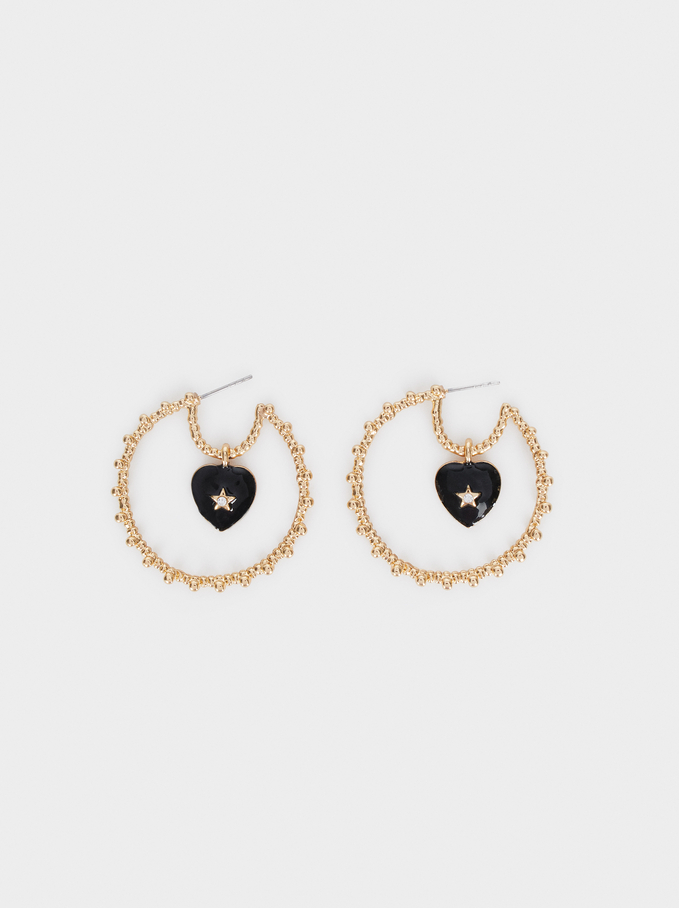 Medium Gold Hoop Earrings With Hearts, Golden, hi-res