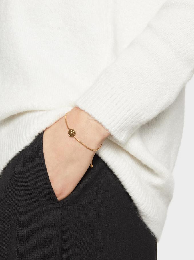 Adjustable Steel Bracelet With Medallion, Golden, hi-res