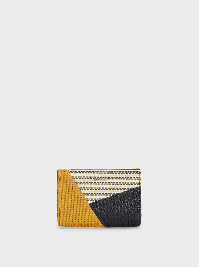 Braided Patchwork Design Compact Wallet, Black, hi-res
