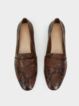 Faux Snakeskin Loafers, Brown, hi-res