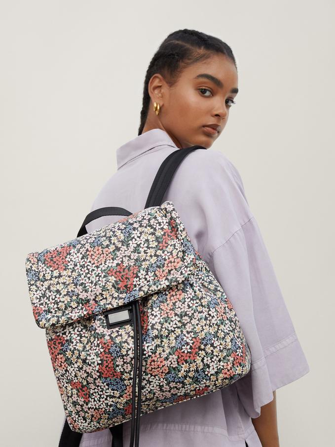 Floral Print Backpack, Black, hi-res