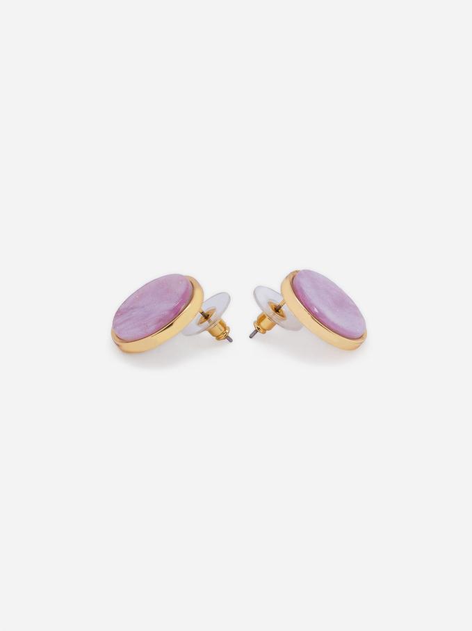 Short Resin Earrings, Pink, hi-res