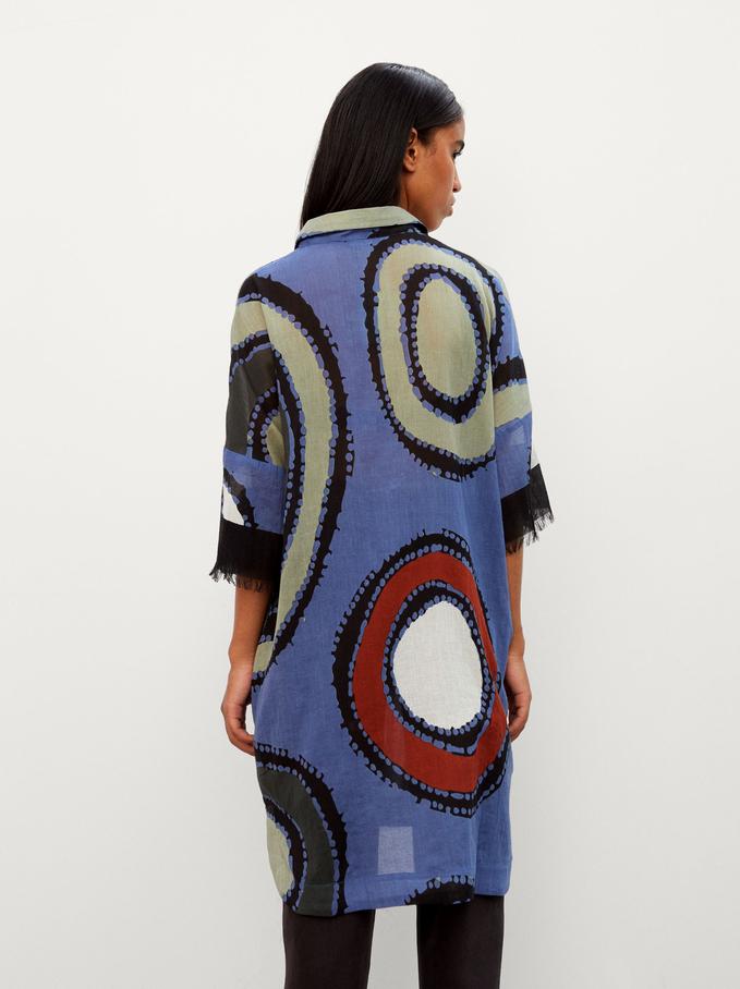 100% Cotton Printed Shirt Dress, Blue, hi-res