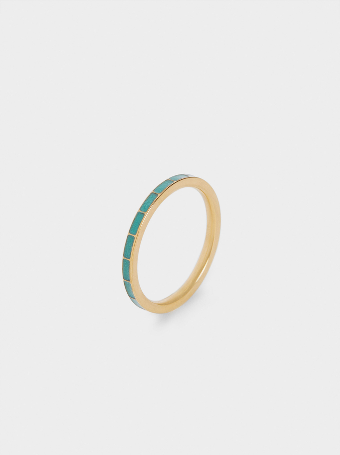 Stainless Steel Ring, Blue, hi-res