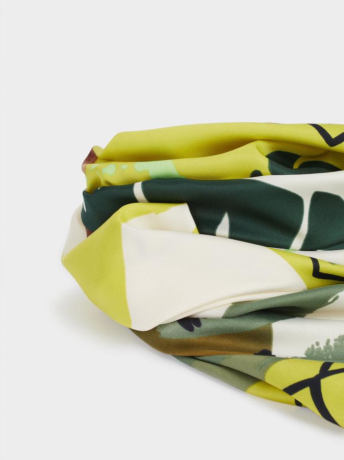 Pañuelo Cuadrado Estampado Hojas, Verde, hi-res