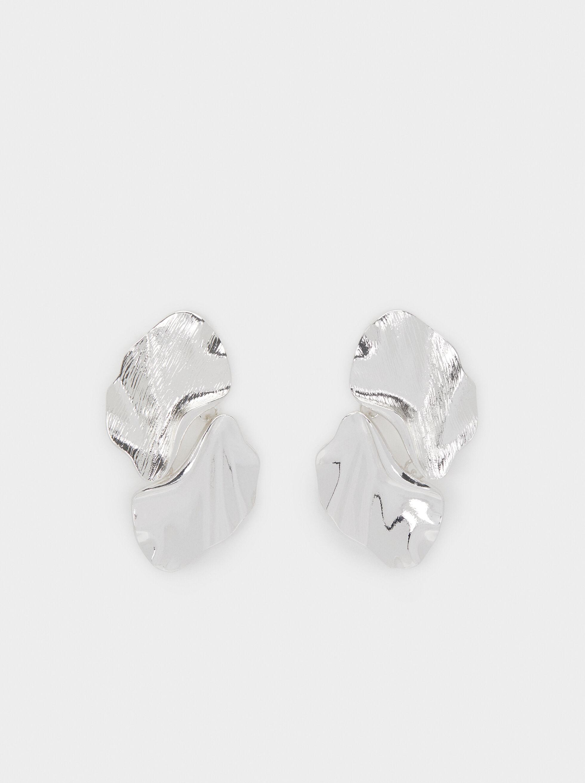 Long Petal Earrings, Silver, hi-res