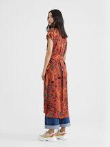 Printed Dress With Belt, Orange, hi-res