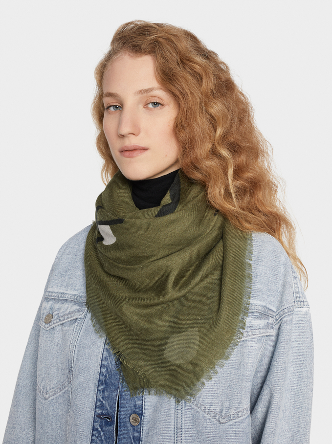 Printed Scarf, Green, hi-res