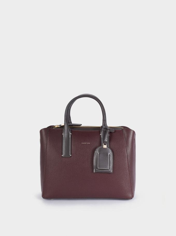 Shopper Bag With Multi-Way Handle, Bordeaux, hi-res