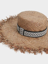 Faux Raffia Hat, Brown, hi-res