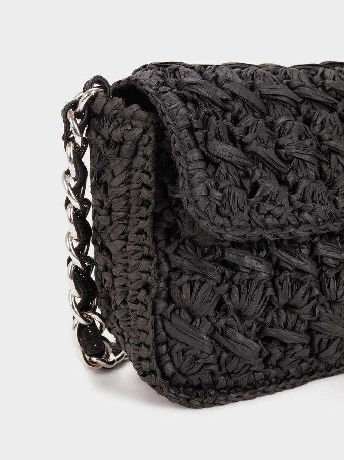 Sac À Bandoulière Texture Raphia Tressé, Noir, hi-res