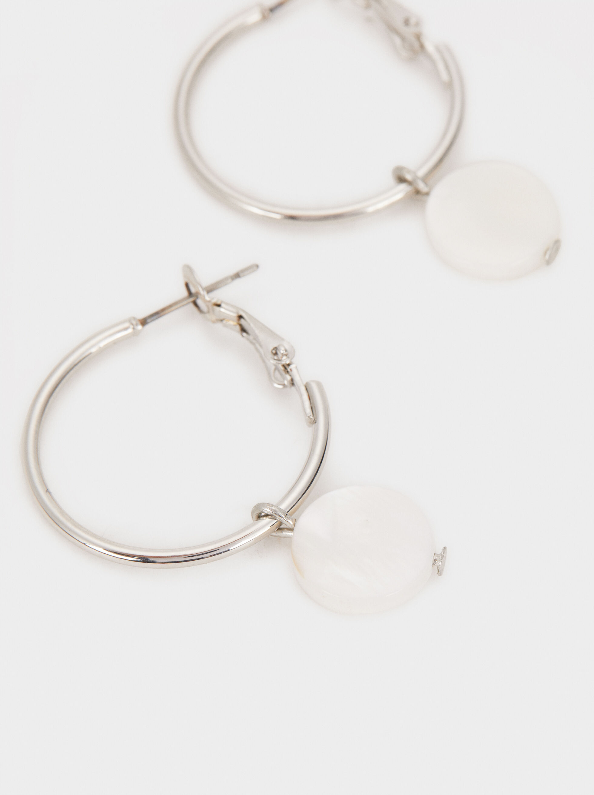 Medium-Sized Faux Pearl Hoop Earrings, Silver, hi-res