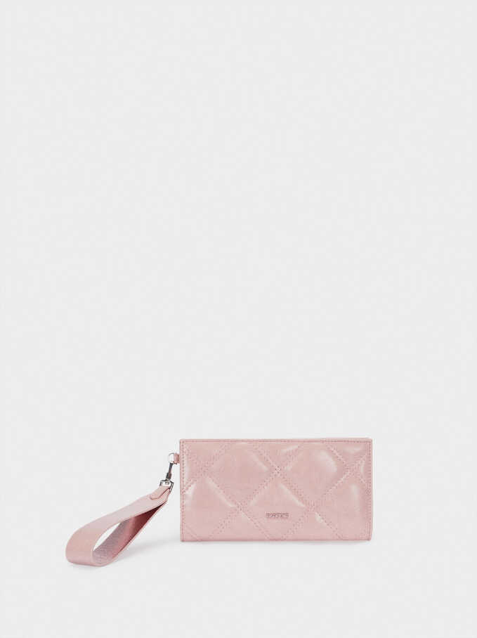 Embossed Wallet With Handle, Pink, hi-res