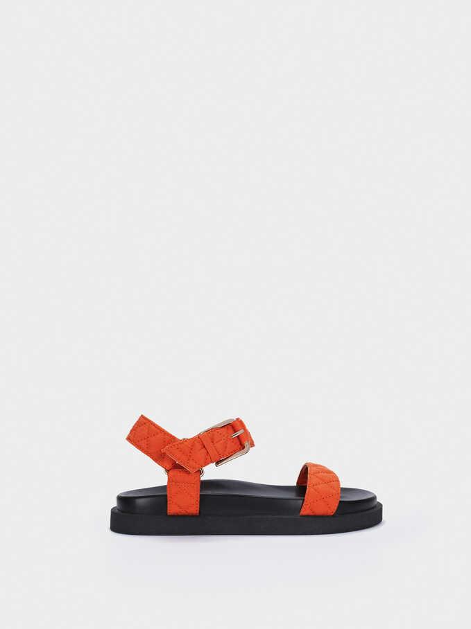 Sandales Plates À Brides, Orange, hi-res