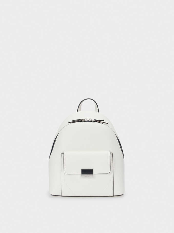 Backpack With Outer Pocket, White, hi-res