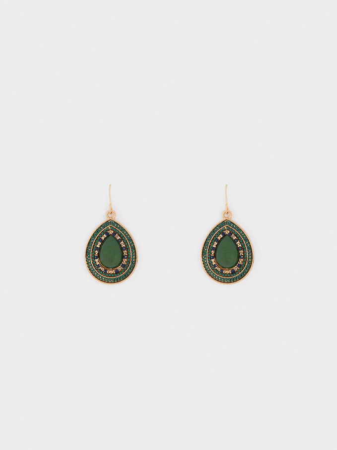 Earrings With Multicoloured Stones, Multicolor, hi-res