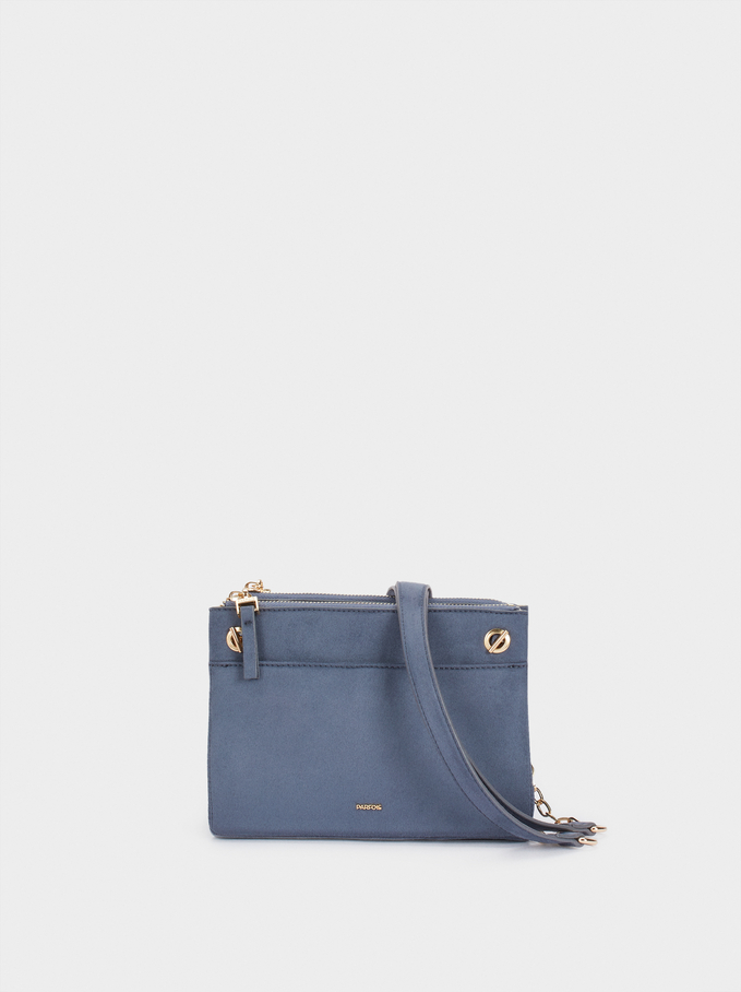 Fake Suede Crossbody Bag, Blue, hi-res
