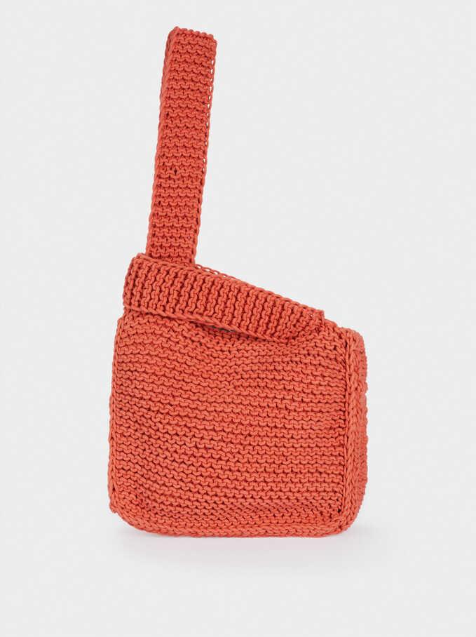 Sac Cabas En Crochet, Brique, hi-res