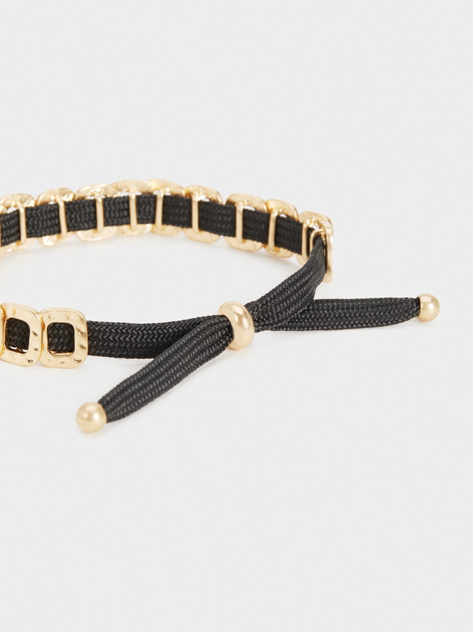 Adjustable Gold Bracelet, Black, hi-res