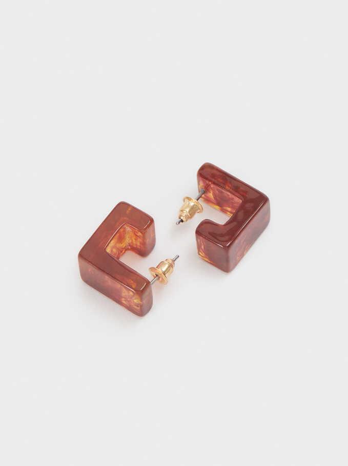 Short Geometric Hoop Earrings, Camel, hi-res
