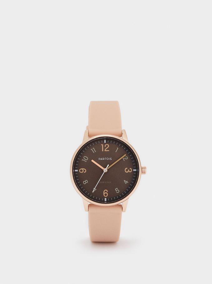 Montre-Bracelet En Silicone Avec Cadran Rond, Rose, hi-res